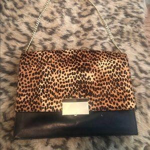 Vince Camuto leopard/leather shoulder bag/clutch